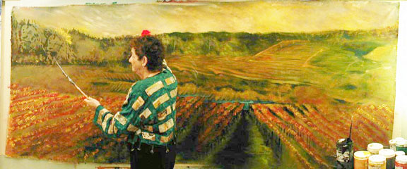 Susan painting in 2009 for Leonhardt Vineyards (click for details)